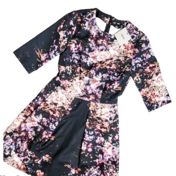 ASOS NWT Black Floral Flare Dress